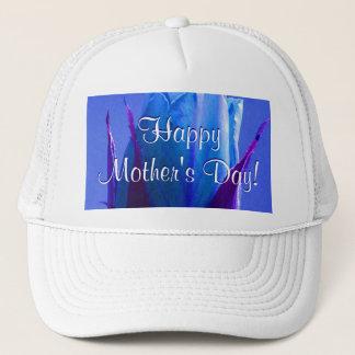 幸せな母の日の青のバラ キャップ