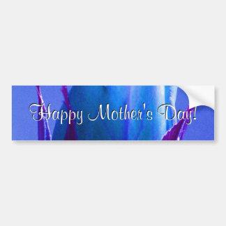 幸せな母の日の青のバラ バンパーステッカー