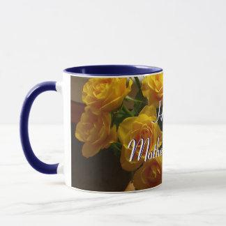 幸せな母の日の黄色バラII マグカップ