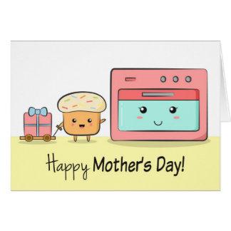 幸せな母の日-かわいいカップケーキおよびピンクのオーブン カード