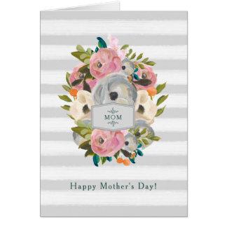 幸せな母の日|のかわいらしい水彩画の花 カード