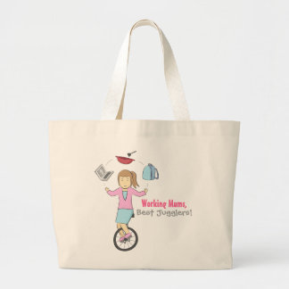 幸せな母の日-一輪車の幸せな曲芸師のミイラ ラージトートバッグ