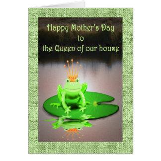 幸せな母の日、私達の家の女王、緑カエル カード