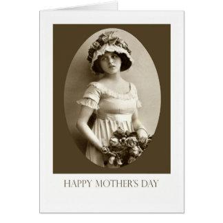 幸せな母の日、若い女の子のセピア色のポートレート カード