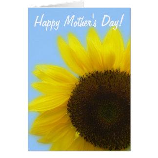 幸せな母の日-青い背景のヒマワリ カード