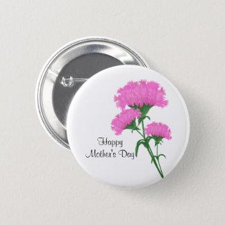 """""""幸せな母の日"""" 3つのピンクのカーネーション 5.7CM 丸型バッジ"""