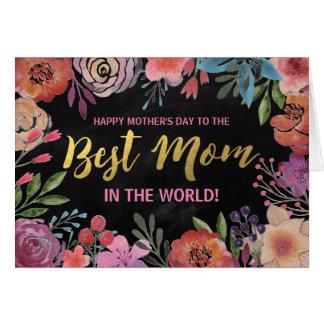 幸せな母の日%PIPE%の水彩画の金ゴールドホイル グリーティングカード