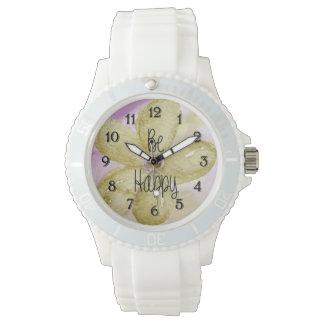 幸せな水彩画の花 腕時計