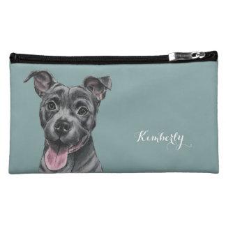 幸せな灰色のピット・ブル犬のスケッチ コスメティックバッグ