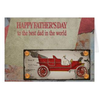 幸せな父の初生赤い車の郵便はがき-最も最高のなパパ カード