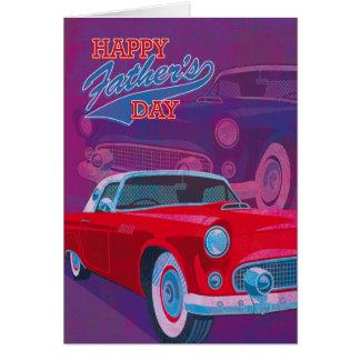 幸せな父の日のヴィンテージのクラシック車 グリーティングカード