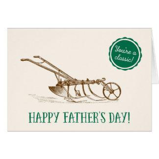 幸せな父の日のヴィンテージの芝刈り機 グリーティングカード