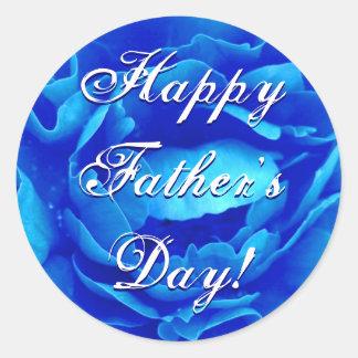 幸せな父の日の青のバラ 丸形シールステッカー