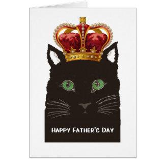 幸せな父の日の黒猫の身に着けている王冠 グリーティングカード