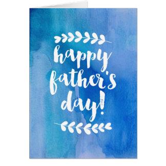 幸せな父の日|の青い水彩画 カード