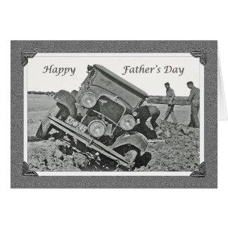 幸せな父の日、ヴィンテージの埋まった車 カード