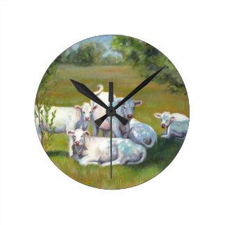 幸せな牛 ラウンド壁時計