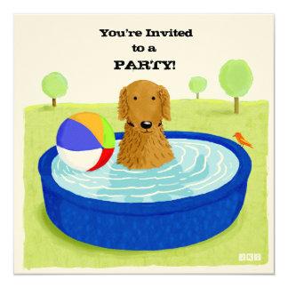 幸せな犬のプールのパーティの招待状 カード