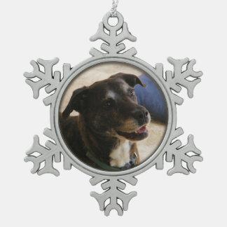 幸せな犬の~のピューターのオーナメント スノーフレークピューターオーナメント