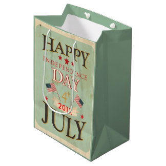 幸せな独立記念日7月4日 ミディアムペーパーバッグ