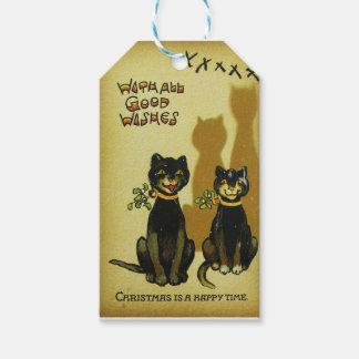 幸せな猫のクリスマスのラベル ギフトタグ