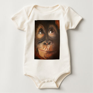 幸せな猿の微笑の油絵のオランウータン ベビーボディスーツ