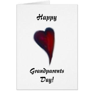 幸せな祖父母日のハート カード