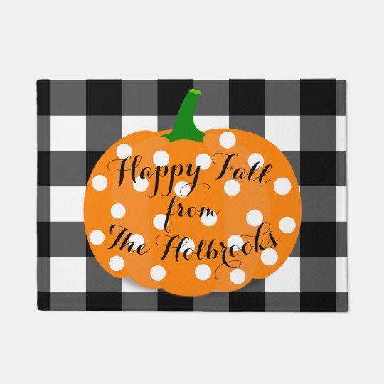 幸せな秋のカボチャおよびギンガムのドア・マット ドアマット
