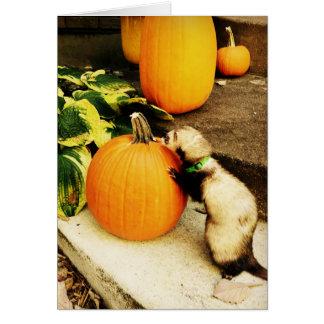 幸せな秋のフェレットおよびカボチャカード カード