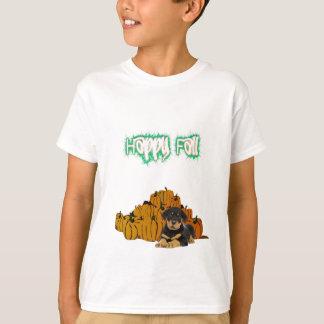 幸せな秋のロットワイラーのカボチャ Tシャツ