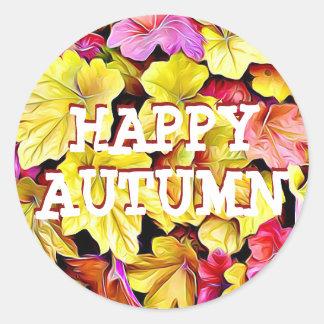 幸せな秋の紅葉のステッカー ラウンドシール