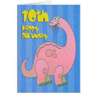 幸せな第10誕生日のピンクの恐竜 カード