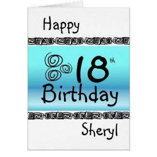 幸せな第18誕生日の写実的で青いターコイズの名前 カード