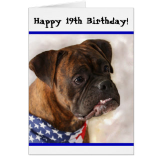 幸せな第19誕生日の愛国心が強いボクサーの挨拶状 グリーティングカード