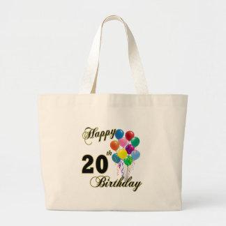 幸せな第20誕生日のトートバック ラージトートバッグ