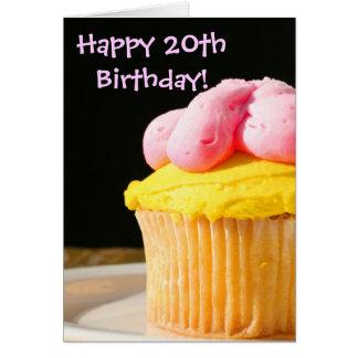 幸せな第20誕生日のマフィン カード