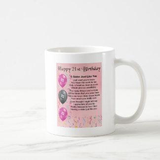 幸せな第21誕生日-姉妹の詩 コーヒーマグカップ