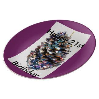 幸せな第21誕生日、挨拶、ギフト、カード、誕生日 磁器プレート