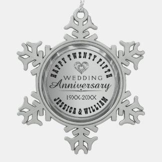 幸せな第25結婚記念日 スノーフレークピューターオーナメント