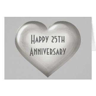 幸せな第25記念日の銀製のガラスハート カード