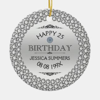 幸せな第25誕生日のダイヤモンド及び銀 セラミックオーナメント