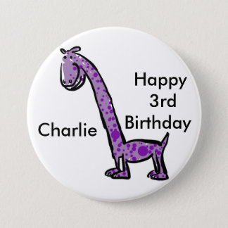 幸せな第3誕生日の漫画の(一流の)恐竜の紫色 缶バッジ