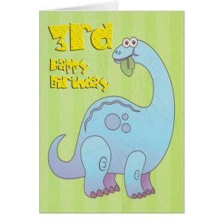 幸せな第3誕生日の青の恐竜 カード