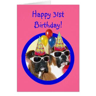 幸せな第31誕生日のボクサー犬 カード