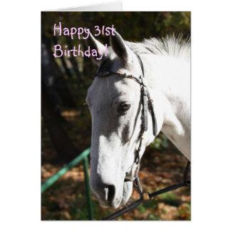 幸せな第31誕生日の白馬の挨拶状 カード