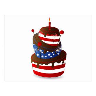 幸せな第4お祝いのケーキ ポストカード