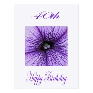 幸せな第40誕生日の紫色の花 ポストカード