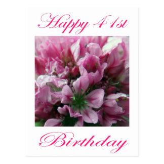 幸せな第41誕生日のピンクおよび緑の花 ポストカード