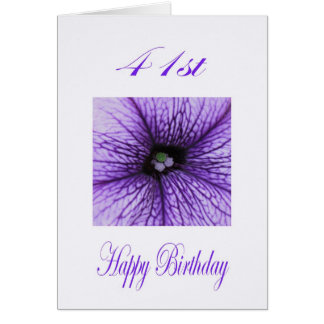 幸せな第41誕生日の紫色の花 カード