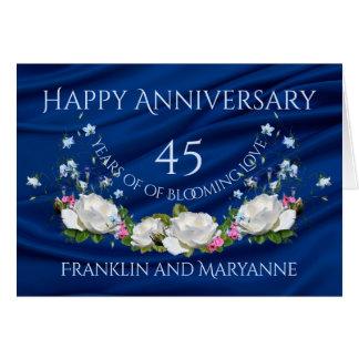 幸せな第45記念日の白いバラのサファイア カード